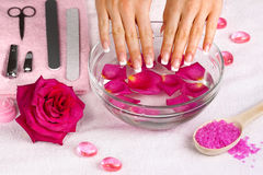 Beautiful woman's hands with french manicure Stock Photos