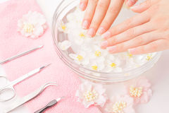 Beautiful woman`s hands with manicure in bowl of water Royalty Free Stock Image