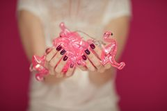 Beautiful woman`s hands with perfect pink nail polish holding flamingo lights into camera. Can be used as background Stock Images