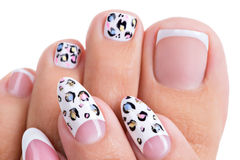 Beautiful woman's nails  with art design on the nails Royalty Free Stock Photo