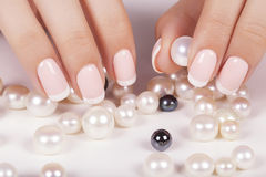 Beautiful woman's nails with french manicure. Stock Photos