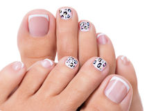 Beautiful woman's nails of legs with beautiful french manicure Stock Image