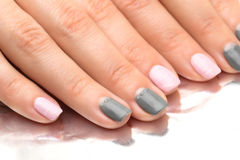 Beautiful woman`s nails with nice stylish manicure Royalty Free Stock Photography