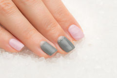 Beautiful woman`s nails with nice stylish manicure Royalty Free Stock Photo
