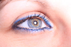 Beautiful woman`s open colorful eye Stock Photo