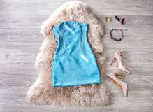 Beautiful woman`s outfit for party royalty free stock photos