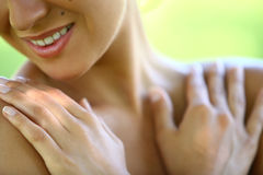 Beautiful woman's part of face and chest Stock Photography