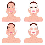 Beautiful woman`s skin care Royalty Free Stock Images