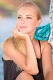 Beautiful woman on the sailboat Stock Photo
