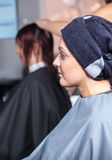 Beautiful woman in salon stock photography