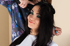 Beautiful woman in the salon hair Stock Photos
