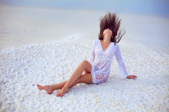 Beautiful woman and salt Royalty Free Stock Images