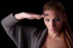 Beautiful woman saluting Royalty Free Stock Photography