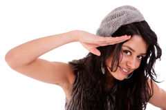 Beautiful woman saluting Stock Photography
