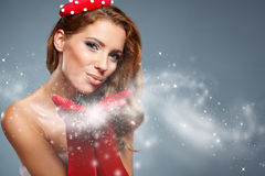Beautiful  woman in Santa Claus clothes Stock Photography