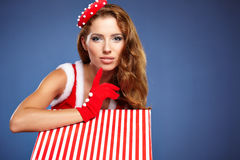 Beautiful  woman in Santa Claus clothes Stock Photos