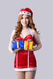 Beautiful woman in Santa Claus clothes Stock Images