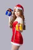 Beautiful woman in Santa Claus clothes Royalty Free Stock Photos