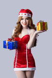 Beautiful woman in Santa Claus clothes Royalty Free Stock Images
