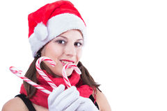 Beautiful woman in Santa Claus clothes over white Stock Image