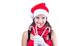 Beautiful woman in Santa Claus clothes over white Royalty Free Stock Photos