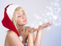 Beautiful woman in Santa Claus clothes, portrait Royalty Free Stock Photos