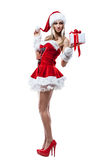 Beautiful woman in Santa Clause costume Royalty Free Stock Photography
