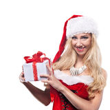 Beautiful  woman in Santa Clause costume Royalty Free Stock Images