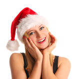 Beautiful woman in santa hat Royalty Free Stock Photography