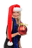 Beautiful woman with Santa Hat Royalty Free Stock Photos