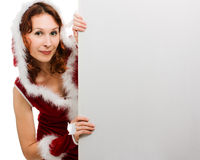 Beautiful woman in santa hat Stock Image