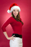 Beautiful woman with santa hat Royalty Free Stock Image