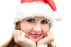 Beautiful  woman in santa hat Stock Photo