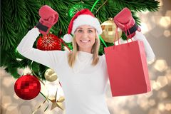 Beautiful woman in santa hat and boxing gloves holding shopping bag Stock Photos