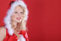Beautiful woman with santa hat Stock Photography
