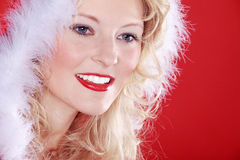 Beautiful woman with santa hat Stock Photo