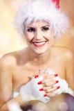 Beautiful woman with santa hat Royalty Free Stock Image