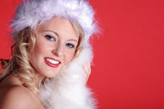 Beautiful woman with santa hat Royalty Free Stock Images