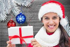 Beautiful woman in santa hat holding a gift Royalty Free Stock Photos