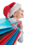Beautiful woman in santa hat with shopping bags. Stock Image