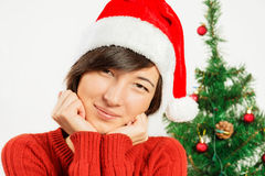 Beautiful woman in a santa hat smiles Stock Image
