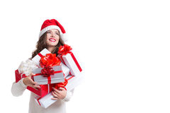 Beautiful woman in santa hat and white sweater isolated. Royalty Free Stock Photo