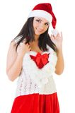 Beautiful woman in santa masquerade costume. Royalty Free Stock Photo
