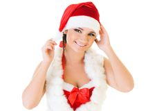 Beautiful woman in santa masquerade costume. Stock Image