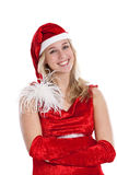Beautiful woman in santa outfit. Beautiful woman smiling in santa outfit Royalty Free Stock Photography