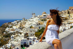 Beautiful woman on Santorini, Oia Royalty Free Stock Photography