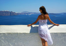 Beautiful woman on Santorini ,Thira Stock Photos