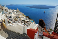 Beautiful woman on Santorini, Thira town Royalty Free Stock Photo
