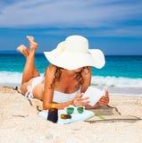 Beautiful woman on Sarakiniko beach, Greece. royalty free stock photos