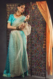 Beautiful woman in sari. Attractive young girl dressed in sari standing near oriental screen with crystals stock photo